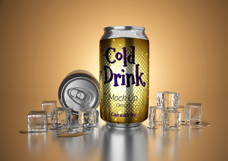 Aluminum metal beverage cold drink can. Ready for your design, packing product, 3D render image.