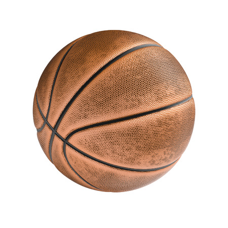 sport equipment: Basketball ball isolated on the white background without shadow. Hight detailed sport equipment with texture. Stock Photo