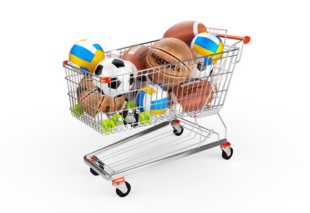 Shopping trolley full of balls. Sport equipment isolated on the white background. Hight detailed and textured 3D render.