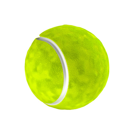 competitive sport: Tennis ball isolated on the white background without shadow. Detailed sport item with hairy texture.
