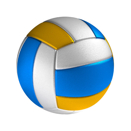 volley: Volleyball ball isolated on the white background without shadow. Sport equipment detailed with stitches and textured surface. Stock Photo