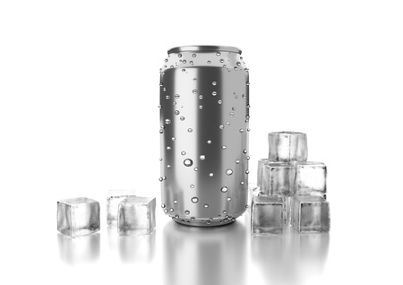 drink can: Aluminum metal beverage cold drink can. Ready for your design, packing product, 3D render image.