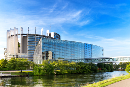 STRASBOURGFRANCE  AUGUST 01: The building of European Parliament on August 01, 2016 in Strasbourg.