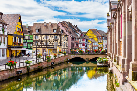 COLMAR/FRANCE AUGUST 03: Flowers decoration and architecture on August 03, 2016 in Colmar.