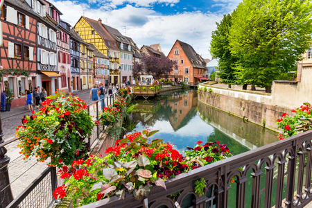 COLMARFRANCE  AUGUST 03: Flowers decoration and architecture on August 03, 2016 in Colmar.