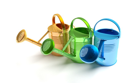 three colors: Watering can isolated on the white background. Detailed 3D render. Glossy gardening objects in three colors. Orange, green and blue.