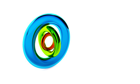 plastic material: Three glossy transparent circles of plastic material isolated on the white background. 3D render objects in blue, green and red colors.