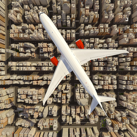 aerial view: Big white airplane above the huge city. Skyscrapers under the air plane. 3D render image.