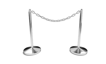 no image: Silver chain with easel stands isolated on the white background. Do not enter, no access symbol. 3D render image. Stock Photo