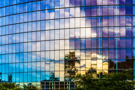 Glass facade of modern building of European Parliament in Strasbourg. Stock Photo