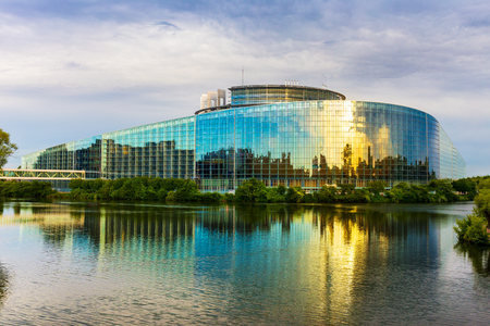 STRASBOURG, FRANCE, AUGUST 01 2016. The building of European Parliament in Strasbourg.