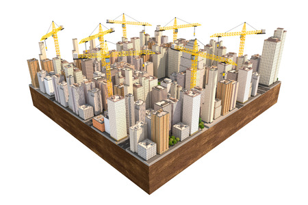 edificio industrial: Big city in the construction with many cranes. Engineering 3D illustration.