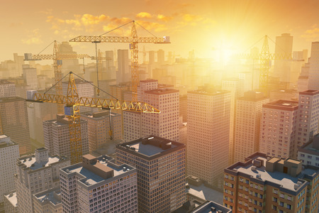 sunset city: Many cranes above the construction of city by sunset or sunrise. 3D illustration with photo montage. Stock Photo