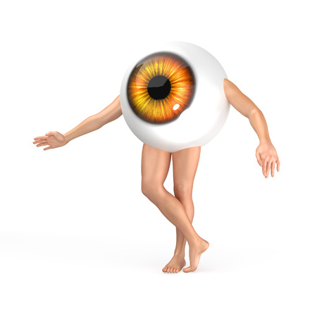 retina: Big orange eye with legs and arms standing on the white background. Realistic 3D render illustration.