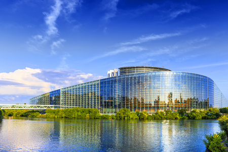 STRASBOURG, FRANCE, AUGUST 06 2016. The building of European Parliament in Strasbourg.