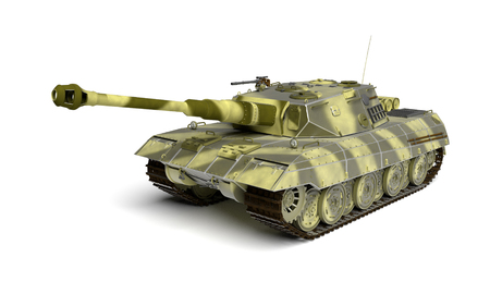 Armored tank isolated on the white background. 3D rendered illustration. Army vehicle. Stock Photo