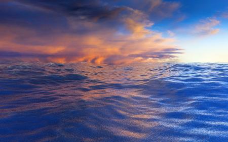 Ocean under the blue and orange cloudy sky. 3D render illustration.