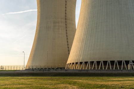 temelin: Cooling towers detail of nuclear power plant. Stock Photo