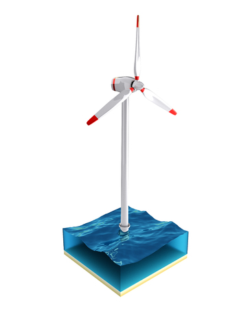 windfarm: Wind turbine in the sea isolated on the white background. 3D render illustration.