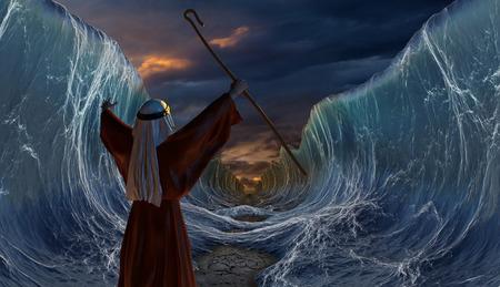 Moses Exodus Route. De Rode Zee oversteken. Deel van bijbelse verhaal - ontsnapping van Israëlieten. Grote golven als open oceaan onder de dramatische hemel. 3D render illustratie. Stockfoto