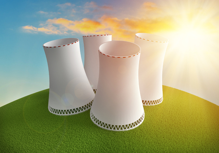 Nuclear power plant on the simple earth with grass under the sunset. 3D render illustration.