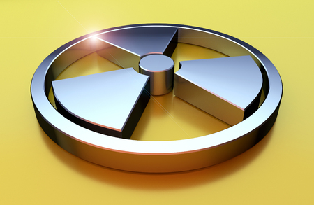 Nuclear symbol. Chrome object on the yellow background. 3D render illustration.