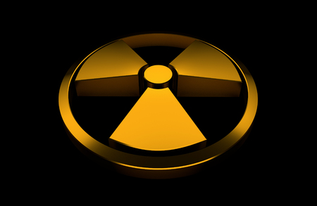 Nuclear symbol. Orange glossy object isolated on the black background. 3D render illustration.