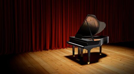 conservatory: Grand piano at the lighting luxury scene. Stock Photo