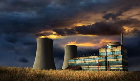 古い工場の煙突の上に火で嵐天の下のイラスト。3 D のレンダリング。