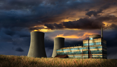 Illustration of old factory under the storm heaven with fire on the top of chimneys. 3D render. Stock Photo