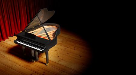 Grand piano bij de verlichting luxe scène. Stockfoto