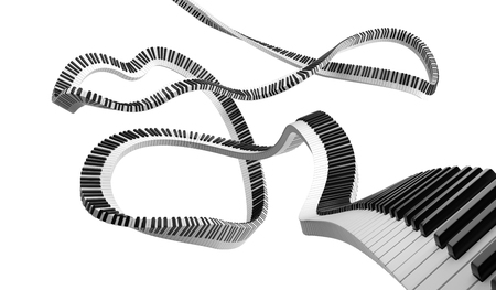 Piano black and white keys in the infinity curve path. 3D render illustration isolated on the background.