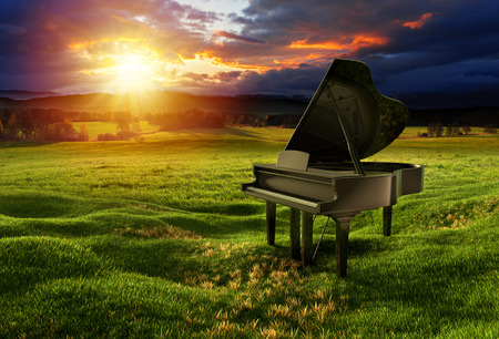 Black glossy piano on the meadow under the dramatic sky with sunny lights. Photos montage with 3D render illustration.