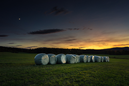 Bundles of hay on the meadow by sunset.