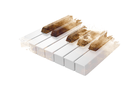 Piano keys on the white background with brush abstract style. Stock Photo