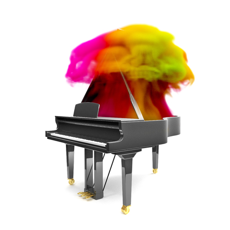 Luxury black glossy piano in the white scene with rainbow smoke. 3D render illustration.