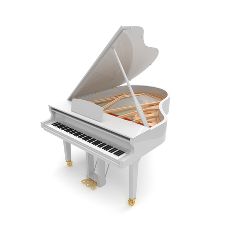 White grand piano isolated on the white background.
