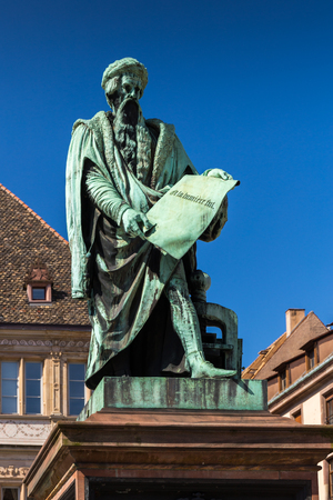 Statue of Johannes Gutenberg in the Strasbourg city in Alsace, France. Banco de Imagens