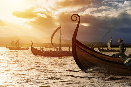 Viking ships on the water under the sunlight and dark storm. Invasion in the storm. 免版税图像