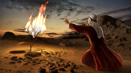 Mosè e il roveto ardente. Storia del libro dell'esodo nella Bibbia. L'arbusto era in fiamme, ma non fu consumato dalle fiamme. Archivio Fotografico - 98199493