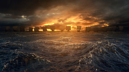 Vikings ships on the horizon of stormy ocean. Mysterious atmosphere under the shining sky. Stockfoto