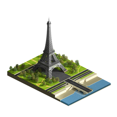 Eiffel tower with terrain isolated on the white. Champs de Mars. Isometric view. 3D render illustration.