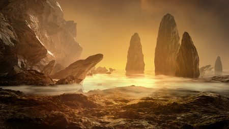Fantasy landscape. Rock, cliff and stones with foggy sea. Mysterious scenery. 3D render illustration.