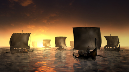 Vikings ships on the foggy water. Misty morning by the sunrise. 3D render illustration.