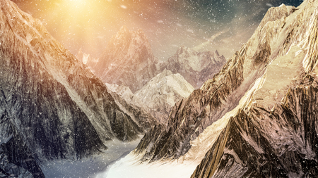 High mountains under the dramatic sunset sky with snow falling. 3D render illustration.