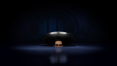 Thief inside manhole looking for the loot. 3D render illustration. Stok Fotoğraf