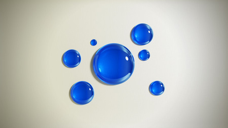 Abstract background with blue glass drops. 3D render illustration. Standard-Bild - 120712740