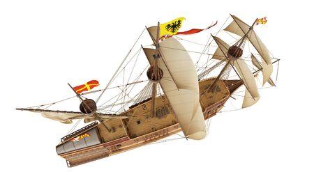 3D model of historic ship Spanish Galleon isolated on the white background. Render illustration. Standard-Bild