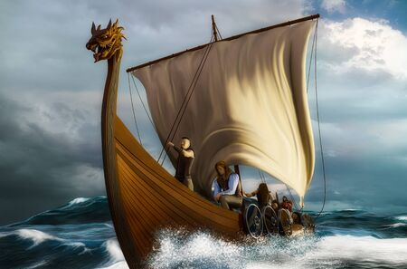 Viking ship on the open sea. Drakkar in the wavy ocean. 3D scene with digital painting.