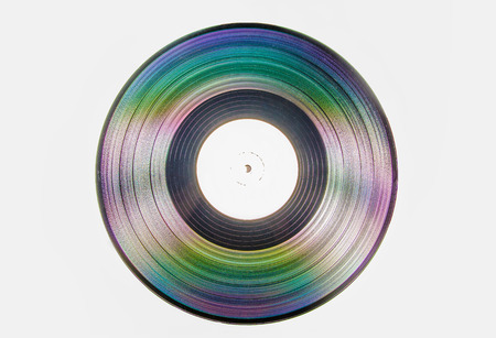 diffraction: Vinyl record with rainbow effect
